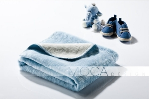 Mocadesign Kocyk 75x100 lightblue & ecrue